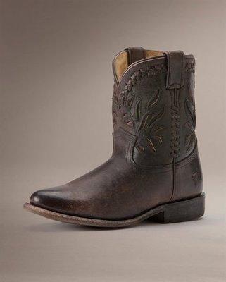 全新 FRYE Wyatt Overlay Short 雕花西部短靴 SZ6.5和7.5現貨