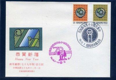 「專287」新年郵票‧二輪羊年‧郵票套票封‧蓋79年資訊月特展戳‧低價起標