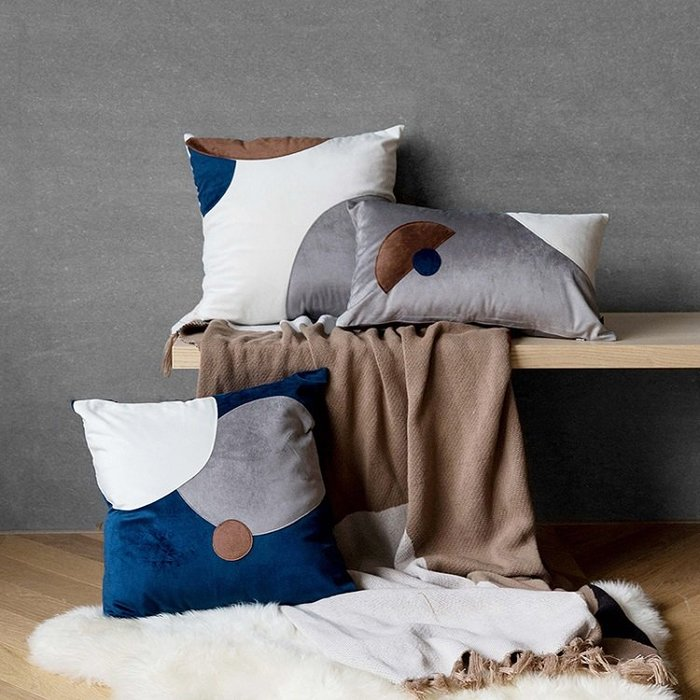 【Uluru】北歐簡約 Harris 抱枕 靠枕 枕芯 45x45cm 30x50cm 絲絨拼布 傢飾軟件 配件