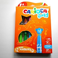 全新品 意大利 Carioca Baby 1+Age 12色 熊仔水筆 Teddy Markers BB美術用品