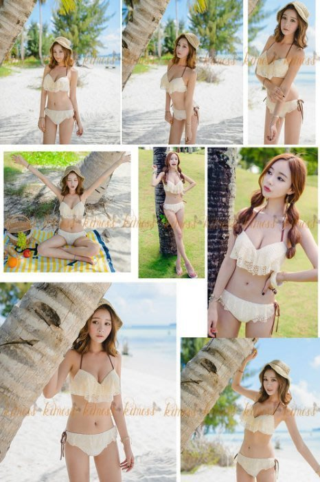 蕾絲風格 海邊戲水 泡湯 比基尼泳衣 兩件式泳裝kimiss 【GK031】