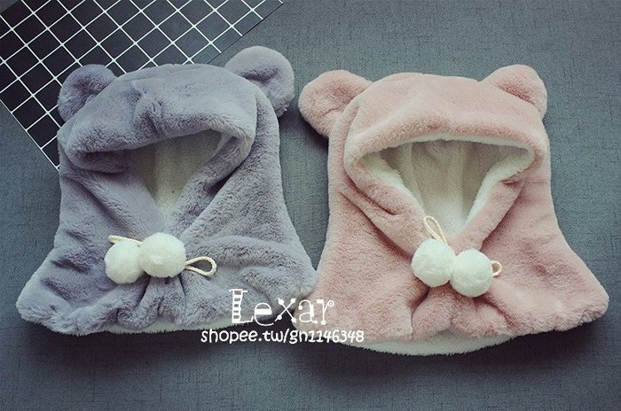 1-5歲寶寶兒童毛毛帽子圍巾耳朵加厚帽子圍巾一體嬰幼兒秋冬圍脖