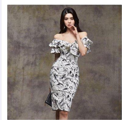 質優正韓洋裝韓風連身裙2020夏季新款韓版復古印花一字領露肩性感女人味修身包臀連衣裙女