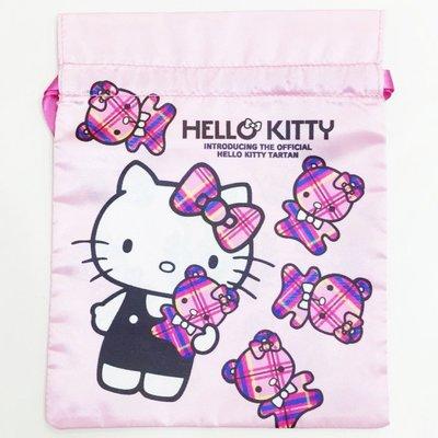 HELLO KITTY 束口袋 收納袋 置物袋 格紋 格子 熊熊 緞面 絲質 文具 配件 正版日本進口 JustGirl