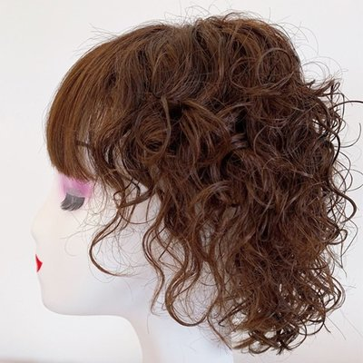 整頂假髮真髮絲短假髮-空氣瀏海捲髮蓬鬆女假髮2色73vr20[獨家進口][米蘭精品]