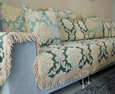 *╮雅居館╭*歐式沙發墊高檔沙發巾新款布藝沙發套定做定制全緊包藍色提花絨面  柏林貴族 D70