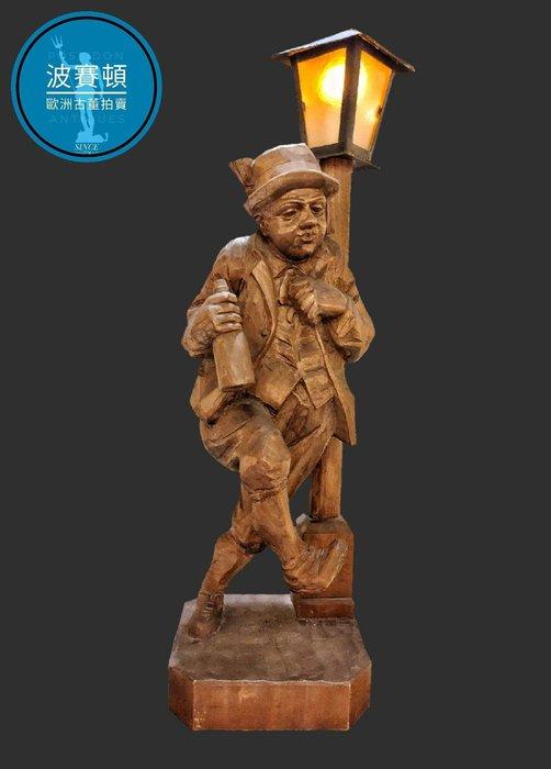 【波賽頓-歐洲古董拍賣】歐洲/西洋古董 德國古董 19世紀 大型手工木雕立燈/燈籠 酒醉的拜耳(高64x寬18.5x深16cm)(年份:約1950年)