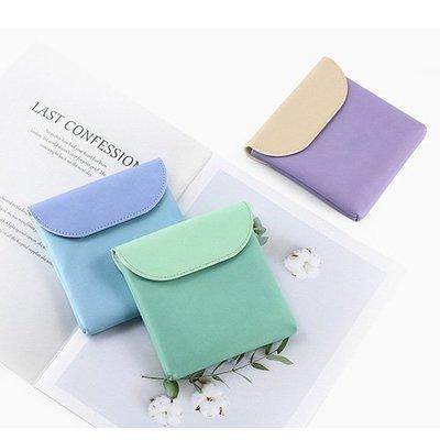 新款簡約馬卡龍色多功能收納化妝品衛生棉小物收納包