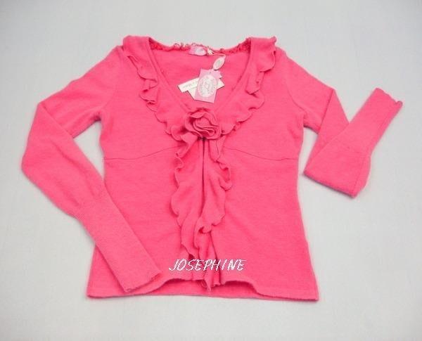 喬瑟芬【BLUGIRL 】桃紅色V字荷葉領安加拉羊毛長袖外套(42)~全新真品!清倉特賣!