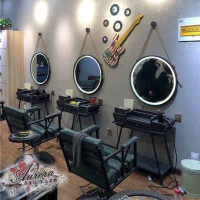 美髮鏡 理髮店 理髮鏡 美髮店 美容鏡 時代做舊復古上燈 風格 摩登鏡台