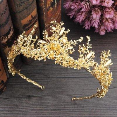 婚紗名店指定款新娘造型結婚皇冠全金色合金王冠髮飾秀禾服王冠結婚紗禮服頭飾配飾品