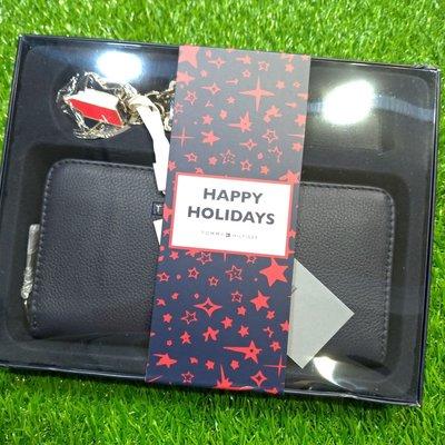 【H*S】女版《正品現貨》 TOMMY HILFIGER 藍色 鋼牌Logo 鑰匙圈組合防刮真皮長夾禮盒