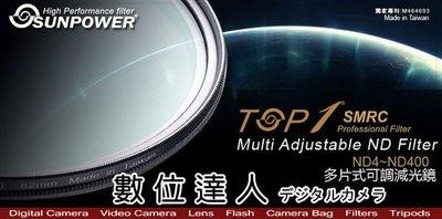 【數位達人】湧蓮貨 SUNPOWER TOP1 SMRC ND4~ND400 可調式減光鏡 72mm ND減光鏡