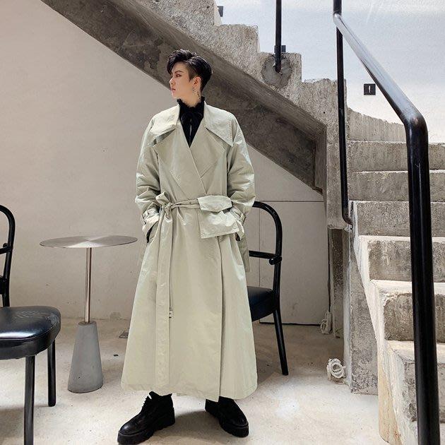 FINDSENSE 2019 秋冬上新 G19  復古流行翻領口袋中長款風衣長大衣男裝百搭寬鬆休閒外套