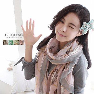 享瘦衣身中大尺碼【B4009】 韓版時鐘圖騰巴厘紗長絲巾