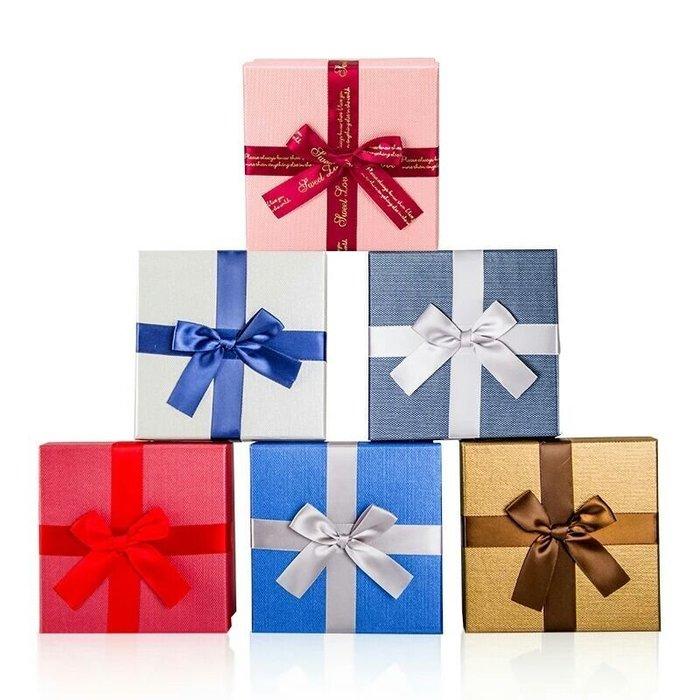 禮盒 蝴蝶結緞帶禮物盒 粉紅色現貨 13×13×7 現貨