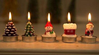 聖誕蠟燭/ 浪漫 小擺設/ 派對裝飾品(一盒四個)