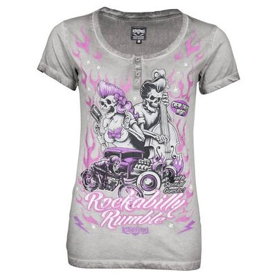 【德國Louis】Lethal Angel女用短袖T恤 舊化復古水洗風格T-SHIRT重機女生騎士圓領灰上衣218480