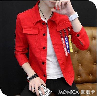 新款紅色牛仔夾克男韓版潮流修身帥氣外套男春秋季薄款上衣服