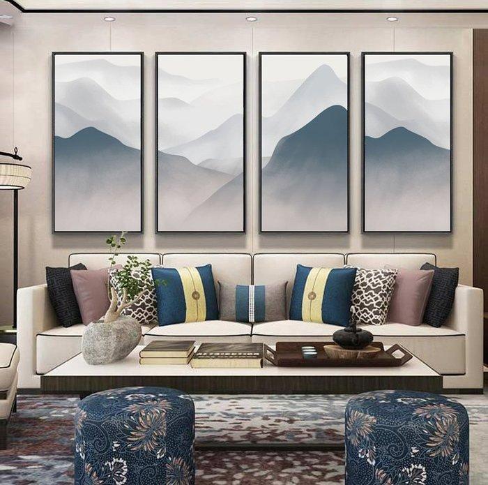 新中式群山山脈禪意風水背有靠山裝飾畫畫芯微噴打印客廳玄關掛畫(不含框)