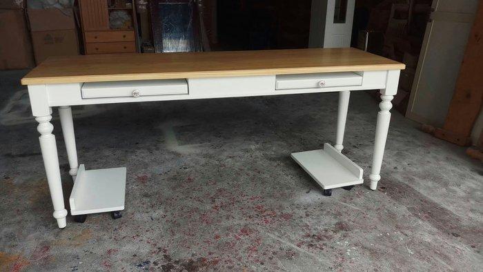 美生活館全新美式鄉村傢俱訂製客製化設計師款雙人電腦書桌(附主機架) 美甲桌工作桌秘書桌寫字桌餐桌會議桌也可修改尺寸再報價