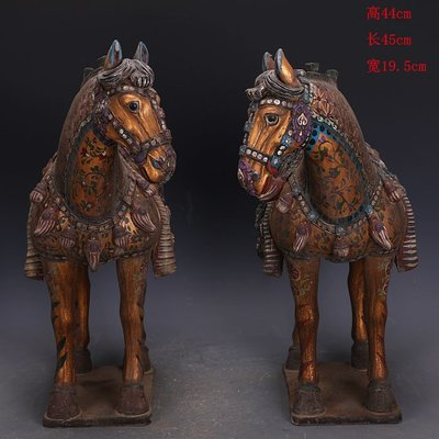 ㊣三顧茅廬㊣   唐三彩雕塑瓷金地彩繪戰馬一對出土文物   古瓷器古玩古董復古擺件