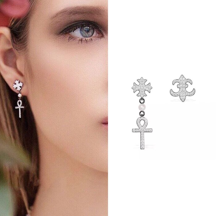 💎974、輕甜精緻十字幸運符精品耳環💎 Hermes Dior 正韓耳環 EC034