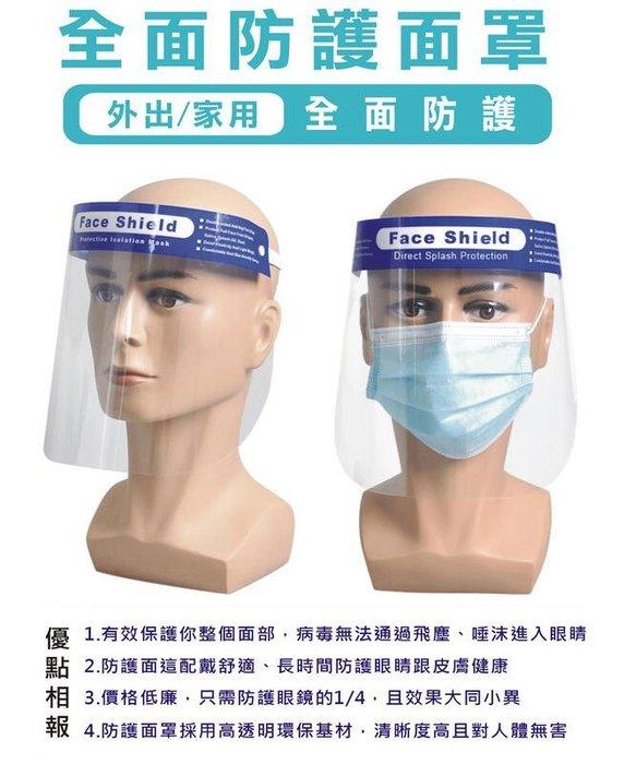 【台灣現貨】有CE認證 透明防疫面罩 防口沫全臉防護 防油濺面罩 臉部防護面罩 雙面防霧 防飛沫防護面罩 非口罩