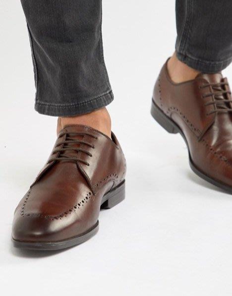 ◎美國代買◎ASOS巴洛克線條裝飾鞋身略方圓長形楦頭英倫紳士雅痞風雕花鞋帶皮鞋~歐美街風~大尺碼
