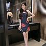 i crazy 88~*【現貨出清】夏季新款女裝修身性感立領鏤空露背花色包臀一步裙旗袍連衣裙洋裝-黑(2661-2)