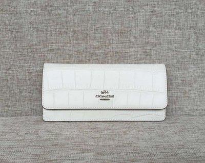 (Outlet特惠)COACH 53923 白色 新款女士鱷魚紋全皮超薄款長夾 手拿包 附代購憑證