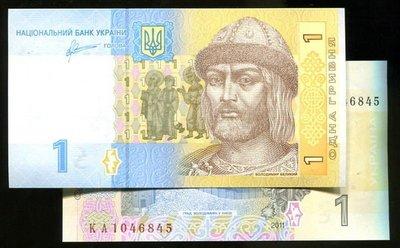 UKRAINE(烏克蘭紙幣),P123,1-HRYVEN,2011,品相全新UNC
