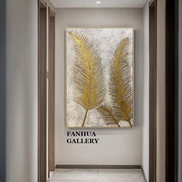 C - R - A - Z - Y - T - O - W - N 純手繪金箔葉子油畫美式玄關金色裝飾畫過道簡美走廊抽象