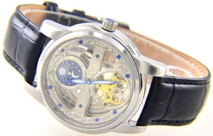 (六四三精品)范倫鐵諾.古柏大錶徑4.0公分,雙面鏤空.精準雕花.自動上鍊機械錶