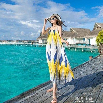 海邊度假沙灘裙夏女2018新款綿綢吊帶洋裝大碼泰國大擺長裙