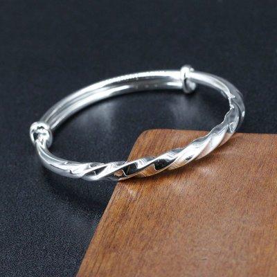 銀革手作 990 純銀 傳統 扭紋 牛鼻鐲 手鐲