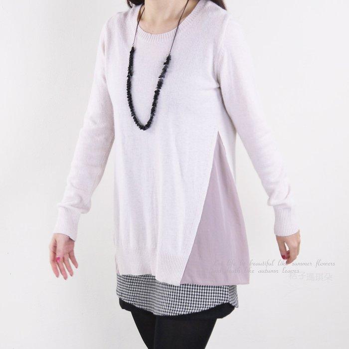 正韓 韓國連線 兩腰側拼接雪紡滑布 素面長袖毛衣 ~桔子瑪琪朵