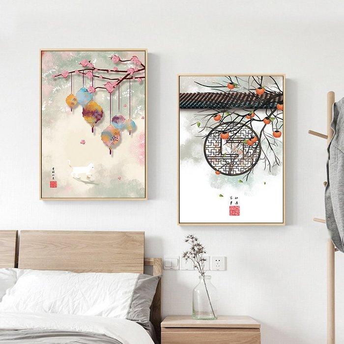 新中式禪意復古風民俗裝飾畫畫芯微噴繪打印畫芯掛畫壁畫(3款可選)