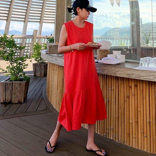 i-Mini 韓國正品~ 浪漫抓褶裙擺無袖連身長洋裝3色‧正韓連線【06266585DS】