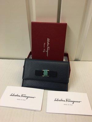 1375 100% NEW Salvatore Ferrag寳藍色真皮短錢包 100%真貨 ($2900包郵,不退換)