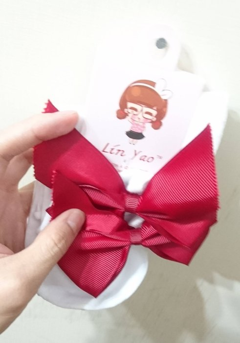 日本正品(現貨) - 紅色蝴蝶結短襪