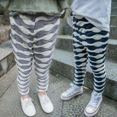 ♥【GK0112】韓版女童裝波浪紋長褲 2色 (藍色 現貨) ♥