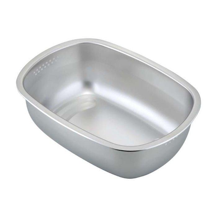 [偶拾小巷] 日本製 下村企販 霧面不鏽鋼洗菜盆/洗菜桶/洗碗盆/瀝水籃