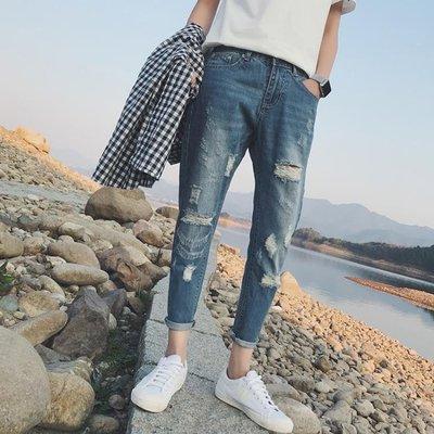 春季新款男士牛仔褲子男生韓版潮流修身小腳破洞九分褲2018林彎彎