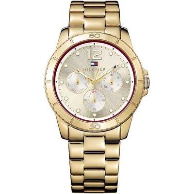 TOMMY HILFIGER 1781583 手錶 40mm 鋼錶帶 金色金錶 三眼 女錶