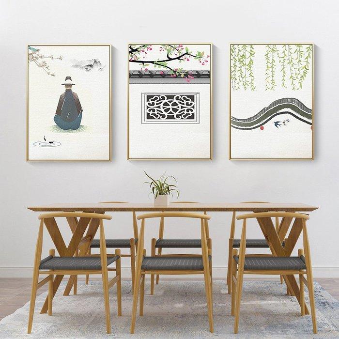新中式禪意復古風徽式建築裝飾畫畫芯微噴繪打印畫芯掛畫(3款可選)