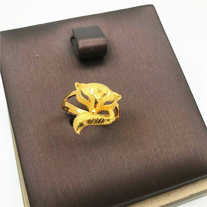 送禮佳品 沙金飾品歐幣可愛金狐貍開口女士戒指久不掉色 仿黃K金鍍金戒指