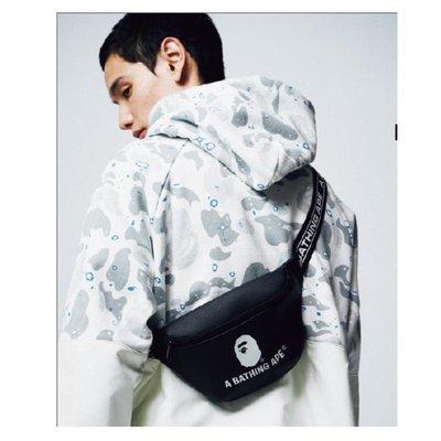日本雜誌附錄款 BAPE APE 猿人頭 Logo 皮革 黑色腰包 肩背包 休閒百搭側背包 收納包 男女皆適用