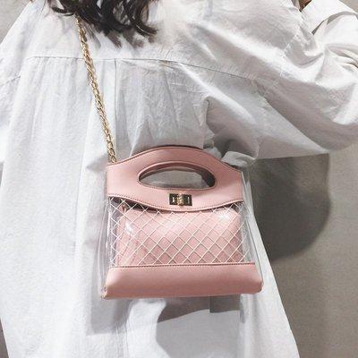 潮流小方包 透明包包女2019夏天新款高級感菱格果凍包簡約chic鏈條單肩斜挎包
