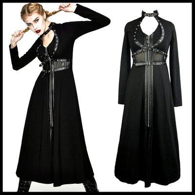 *MINI PUNK LOLO*黑暗哥德傳說-暗夜之師雙子殺手皮革網紗拼接連身裙 PUNK(CT098)